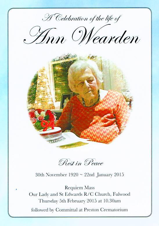 Ann Wearden overleden